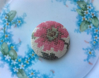 Vintage Large Fabric Covered Button, Great Old Fabric!