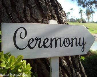 CeReMoNy SiGn - Directional Wedding Arrow SIGN - Vintage Woodland Wedding Sign - 2ft Stake - White Wash Finish