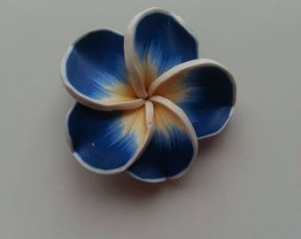 grande fleur en pate polymere bleu foncé 45mm