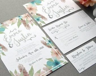 Floral Wedding Invitations, Watercolor Wedding Invitation Suite, Teal Blush and Gray Wedding Pocket Invite Set Rustic Wedding Invites Flower
