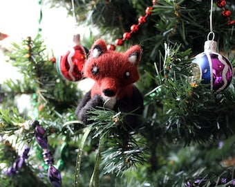 Felted Fox Christmas Ornament - Made to Order - Felt Fox Ornament - Felted Fox Animal Ornament - Cute Fox - Woodland Ornament