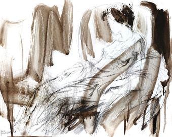 Original drawing, Charcoal Woman sketch, Mixed media graphic artwork, Figurative Wall art, Abstract Female Figure art sketch, Woman sketch