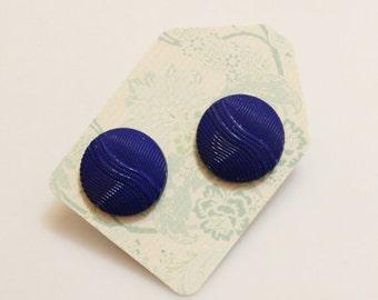 Royal Blue Stud Earrings, Button Jewelry