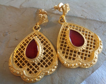 """Gold and Red Vintage """"Monet"""" Post and Dangle Earrings"""