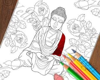 Buddha Rose Garden Coloring Page, Buddha Coloring Page, Rose Coloring Page, Adult Coloring Page