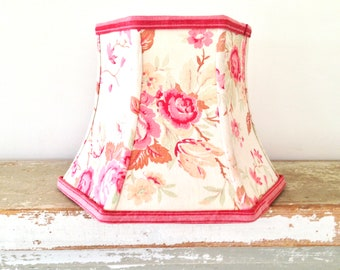 French Small Lampshade, Vintage Floral Fabric Lamp Shade, Boudoir Lampshade,  Handmade Lighting,