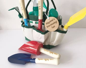 Childrens 8 piece personalised gardening set - garden tools - engraved tools - gift for her - gift for him - outdoors fun
