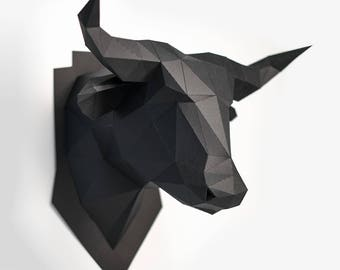 Bull head, Animal Head, low poly, DIY, trophy, Papermodel