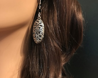 Antique Silver Filagree Oval Earrings