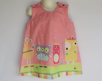 Girls retro pink pinafore dress - sizes 00 & 3 avail - monster