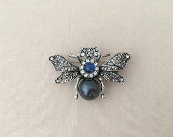 Vintage Style Bee Brooch.Rhinestone Bee Brooch.Crystal Bee Brooch.Blue Silver Bee.Large Bee Brooch.Bridal.Bee Pin.Wedding Accessory.Bee Pin