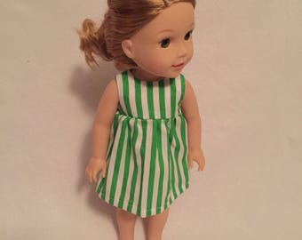 "Doll Clothes - 14"" Doll Clothes - Outfit for Dolls - Dress for Dolls - Stripes - Wellie Wishers Dress - Green Dress for Doll - Doll Dresses"