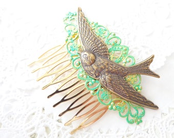 Gold Sparrow Hair Comb - Swallow Hair Comb - Ox Brass Bird Hair Comb - Woodland Hair Comb - Bridal Sparrow Hair Comb - Green Hair Comb