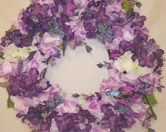 "16"" Purple bird wreath with lettering"