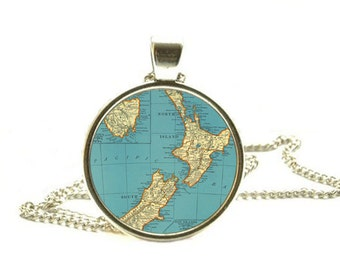 New Zealand map pendant, New Zealand map necklace New Zealand pendant, New Zealand necklace