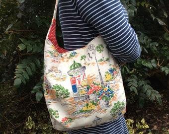 Vintage barkcloth fabric slouchy shoulder bag - Parisian streets