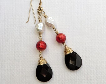 Black Onyx White Keishi Pearls Red Murano Gold Earrings