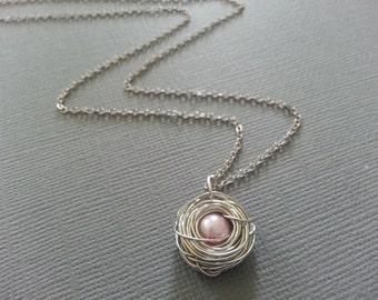 Baby Pink Single Bird's Nest Necklace