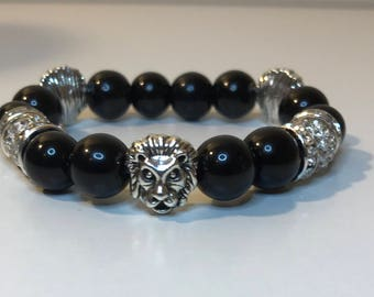 10mm Black Stretch Bracelet with Silver Lion Heads