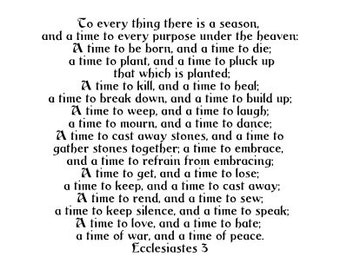 Ecclesiastes 3 - To every thing there is a season - vinyl wall decal