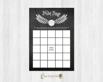 Harry Potter Bridal Shower Bingo Game Printable Wedding Games Digital File Instant Download Rustic Chalkboard Sci-fi Geek Nerd
