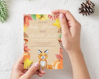 Autumn Baby Shower Invitation, Printable Invitation, Custom, Fox, Fall, Leaves, Pumpkins, Autumn Leaves, Watercolor, Download, Digital Print
