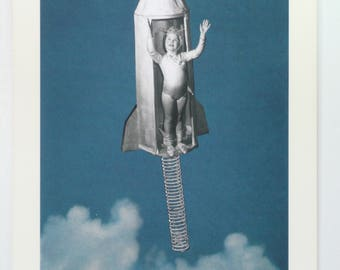 Boing - Infant Art Print, Rocket Art, Nursery Art Print, Spring Art, Surreal Collage Art, Blue Sky and Clouds Art Print, Childrens Wall Art