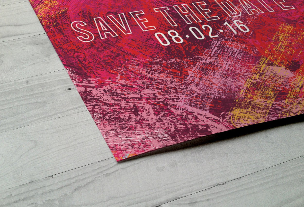 Love Heart Save the Date Card Wedding Invitation painted save