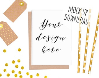 Gold Card Mockup, Party Invite Mock Up, Styled Photography, Gold Confetti, Birthday Card