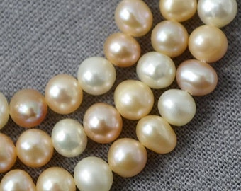 Potato pearl necklace Large hole pearl Freshwater pearl Round pearl earring Loose pearls Multi Color 5.0-5.5mm Full Strand PL2173