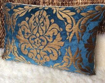 Velvet Brocade Pillow Blue/gold bronze-historical ornaments, medieval, middle age, woven fabric cover Pillow