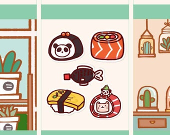 Cute Sushi tickers, Cute Japanese food planner Stickers, Cute food sticker, Cute panda sticker, Assorted sushi stickers (PD061)