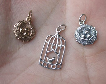 Sterling Silver Birds Nest Charm or Bird Cage(one)