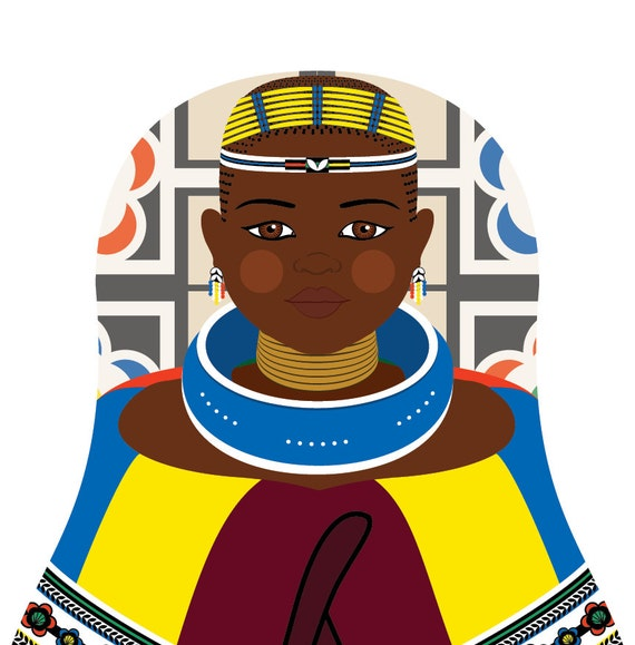 Ndebele South African Doll Art Print traditional dress matryoshka
