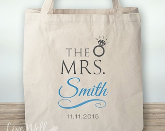 He Put A Ring On It - Canvas Tote - Mrs. Custom Gift - Personalized Wedding Gift - Custom Wedding Gift - Wedding Favor