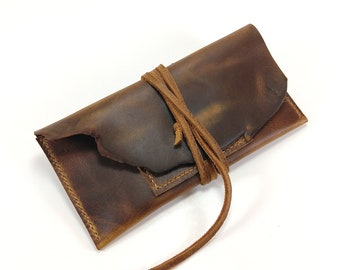 Rustic Leather Tobacco Pipe Pouch, Distressed Leather Tobacco Pouch, Pipe Smokers Gift, Tobacco Pouch, Leather Pipe Pouch