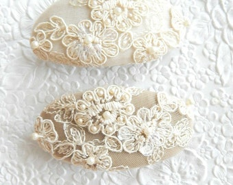 Ivory beaded hair barrette,  bridal fabric ponytail clip, hair accessory for thick hair