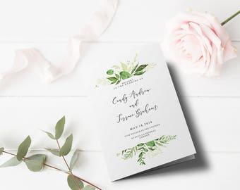 Wedding Program Template Folded leaves, Greenery Wedding Program Printable, Order of Ceremony Template, Half Fold Program Template, TL16