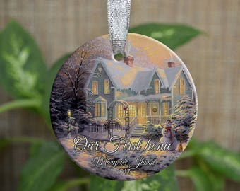 Personalized Christmas Ornament, Our new home ornament, Custom Christmas Ornament, Housewarming gift, Wedding gift, Christmas gift. o027