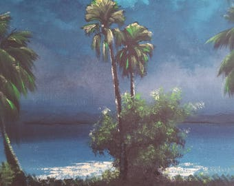 Original Painting Florida Landscape Art Tropical Painting Palm Tree painting Impressionism Small Coastal Moonlight Palms