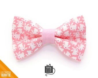 """Easter Cat Bow Tie - """"Hoppy Hour / Pink"""" - Bunny Cat Collar Bow Tie / Kitten Bow Tie / Rabbit / Small Dog Bow Tie - Removable (One Size)"""