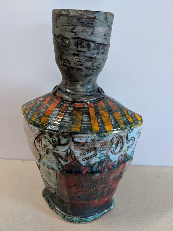 Handmade Ceramic Vase with Bee and Flowers