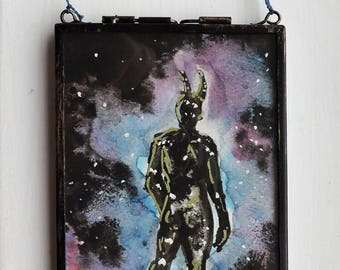Galaxy Wanderer framed mixed media painting