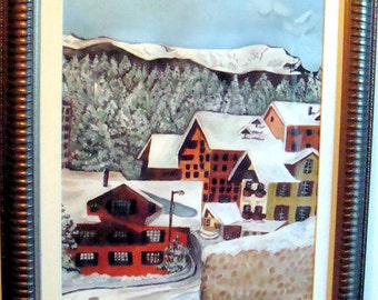 GRINDELWALD SWITZERLAND Ski Town Winter Landscape watercolor art painting Europe Swiss Alps Grindlewald Skiing