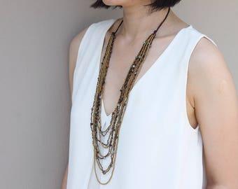 Fancy Jasper Multi Strand Layered Necklace