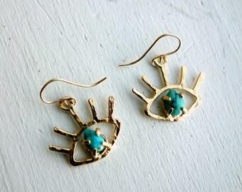 Gold Turquoise Beholder Eye Dangle Earrings