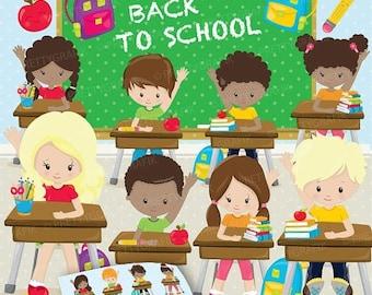 80% OFF SALE Classroom kids school clipart, clipart commercial use, school vector graphics, digital clip art, digital images - CL899