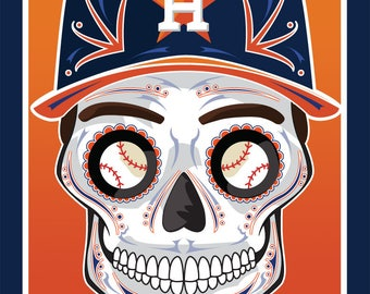 Houston Astros Sugar Skull 11x14 print