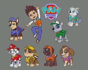 "9 set embroidery designs Paw Patrol 4x4""  pes hus jef"