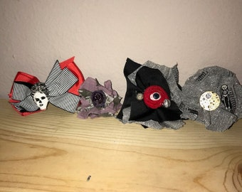 Lot Of 4 Ooak Creepy Gothic Rockabilly Hair Bows Accessories